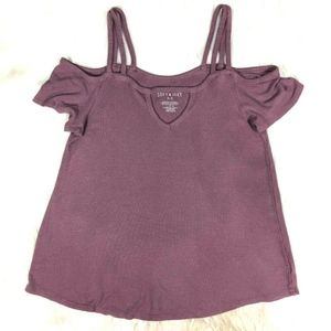 AEO American Eagle Soft & Sexy Cold Shoulder Top
